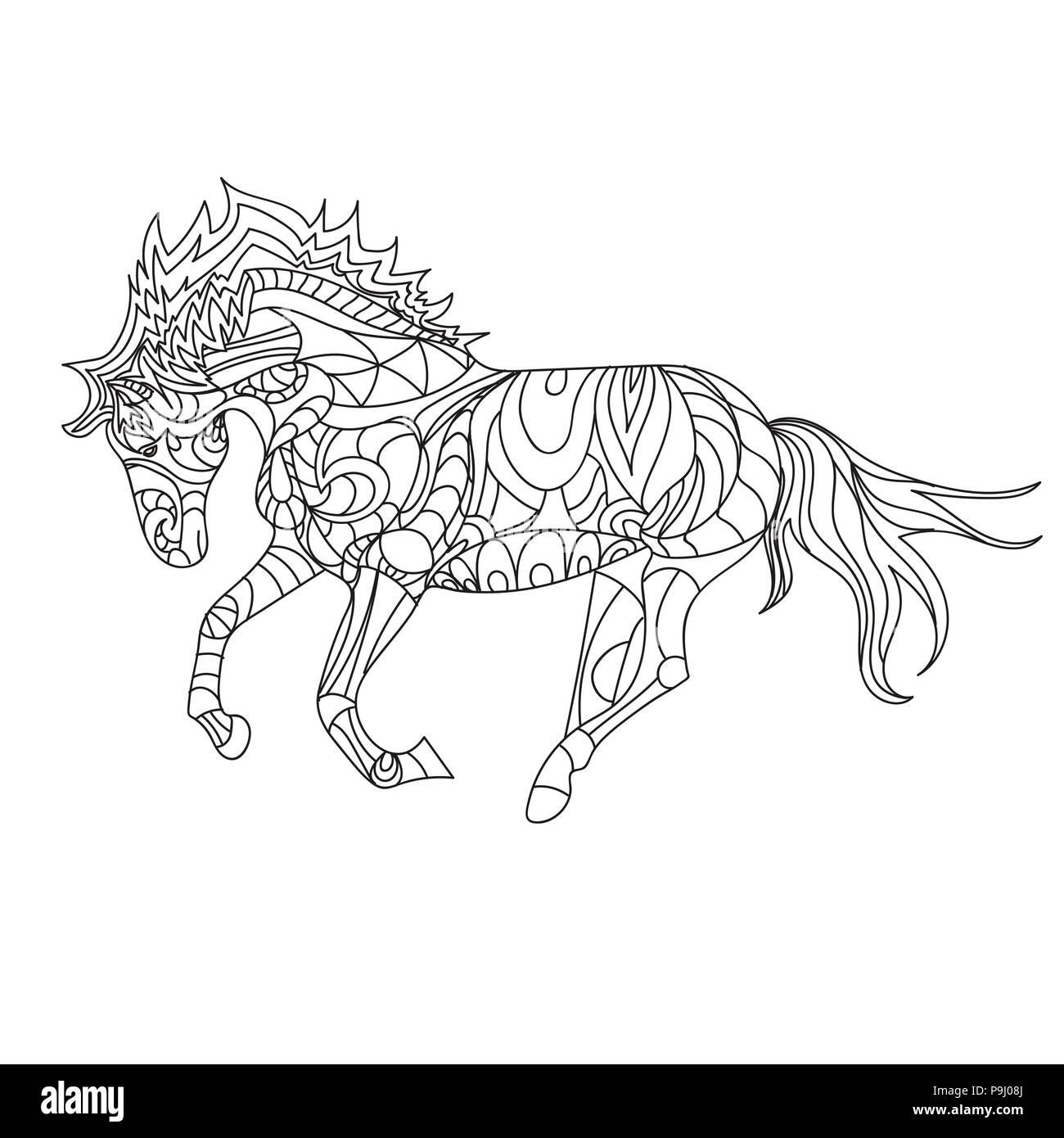 Pferde Malbuch, Seite, einfach. Muster, Vektor Vektor Abbildung ...