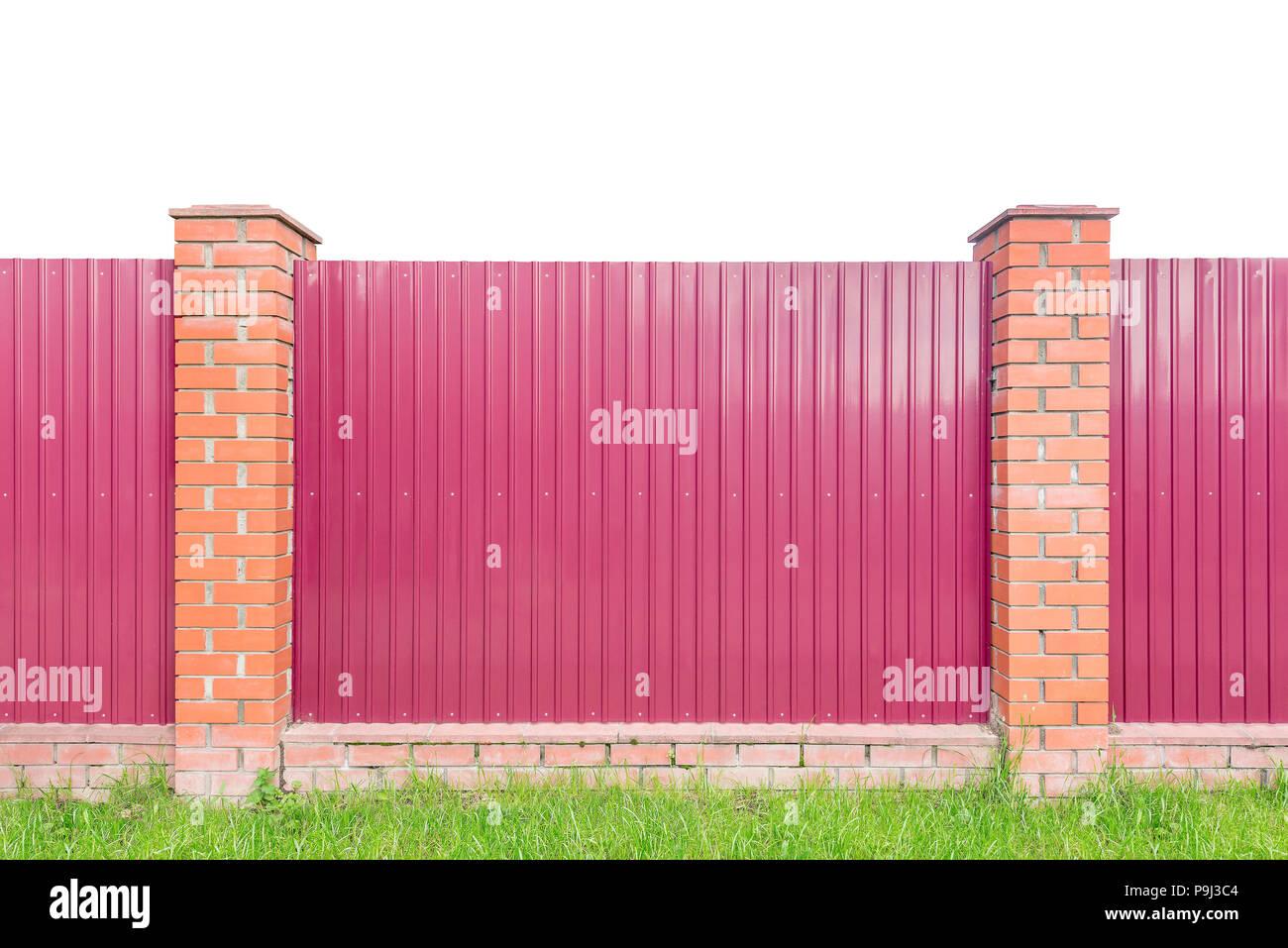 Metall Zaun Von Der Strasse Auf Weiss Isoliert Stockfoto Bild