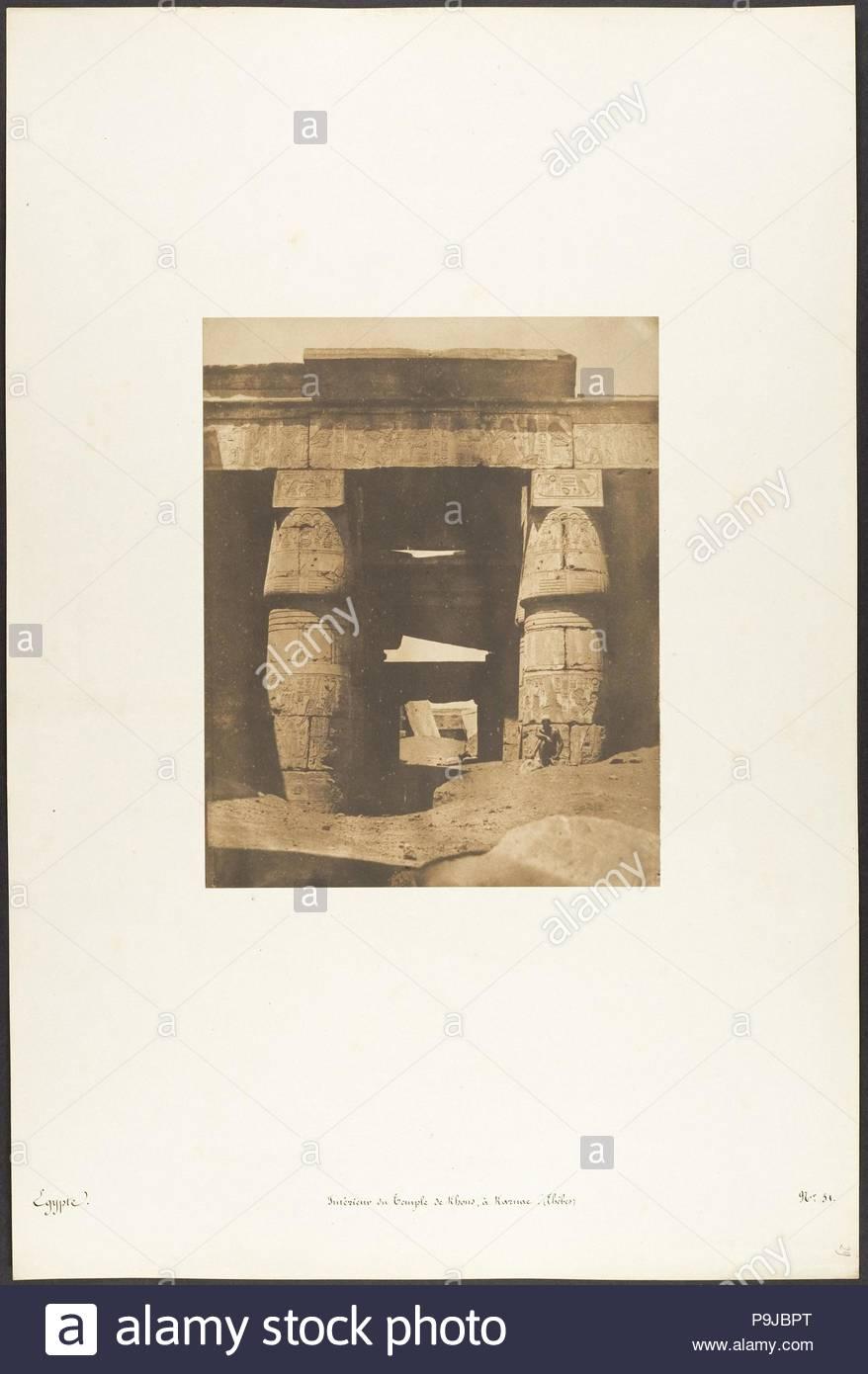 Intérieur du Temple de Khons, à Karnac, Thèbes, 1849-50, gesalzen Papier drucken aus Papier negativ, Bild: 8 1/4 x 6 1/2 in. (21×16,5 cm), Fotos, Maxime Du Camp (Französisch, 1822-1894). Stockbild