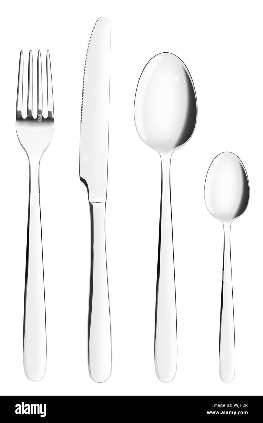 Gabel, Messer, Löffel, Teelöffel, Besteck auf weißem Hintergrund, isoliert, Freistellungspfad Stockfoto