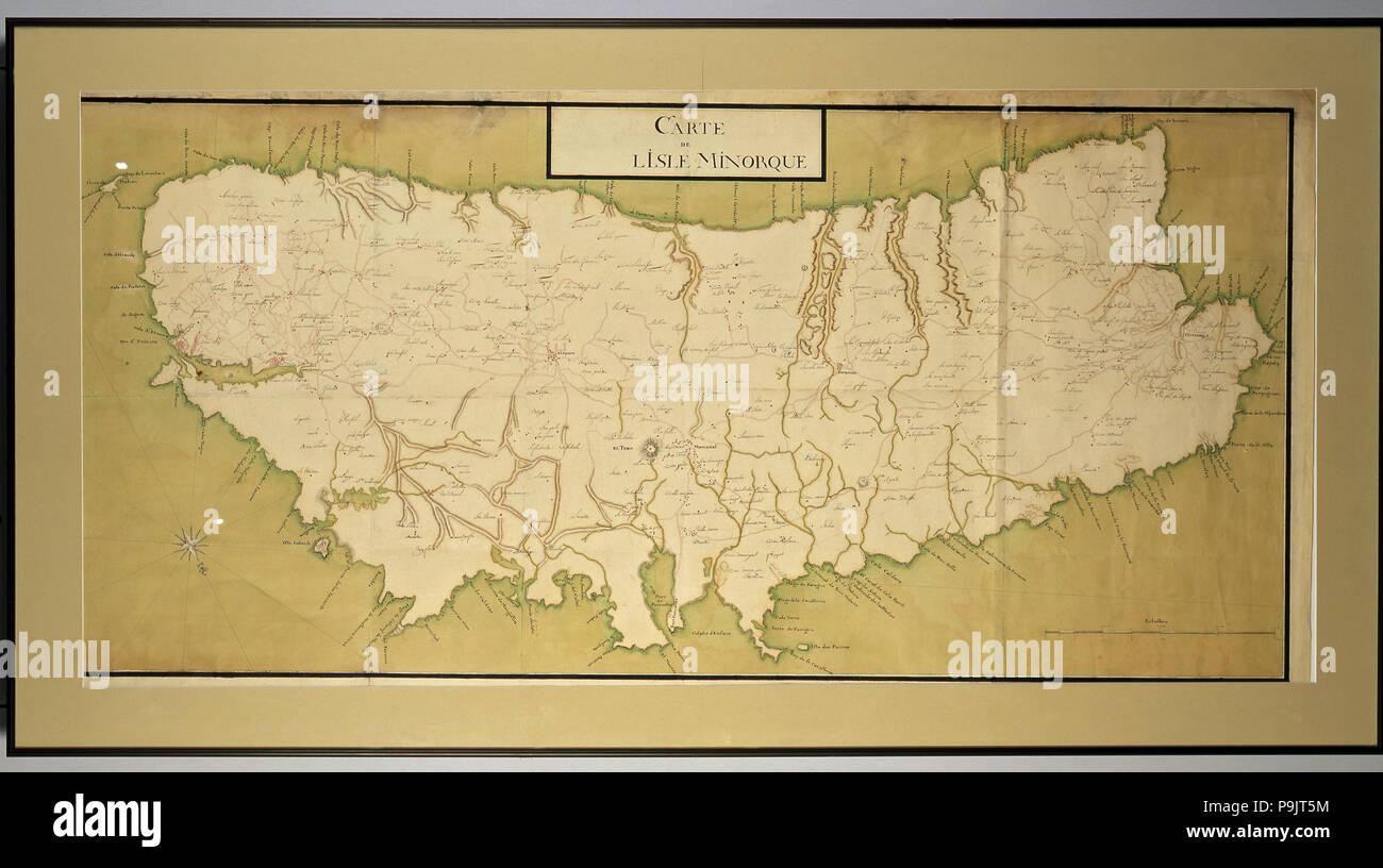 Insel Menorca Karte.Manuskript Karte In Gouache Der Insel Menorca Mit Namen