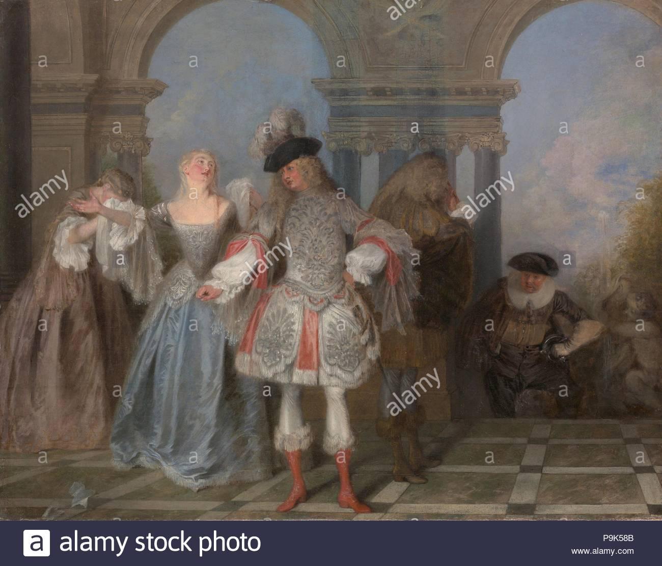 Der Französische Komiker Ca 1720 öl Auf Leinwand 22 12 X 28 34