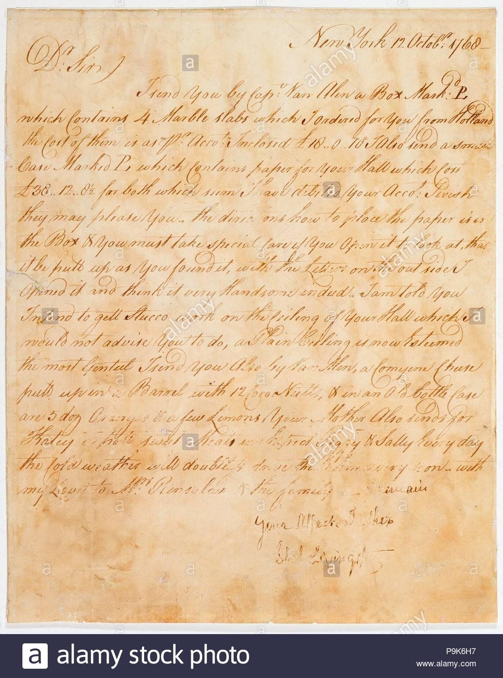 Plan, Brief und Rechnung für das Hintergrundbild für den Saal der Van Rensselaer Mansion, 1768, American, Pergamentpapier, 14 3/8 x 19 3/4 in. (36,5 x 50,2 cm), natürliche Substanzen, Philip Livingston. Stockbild