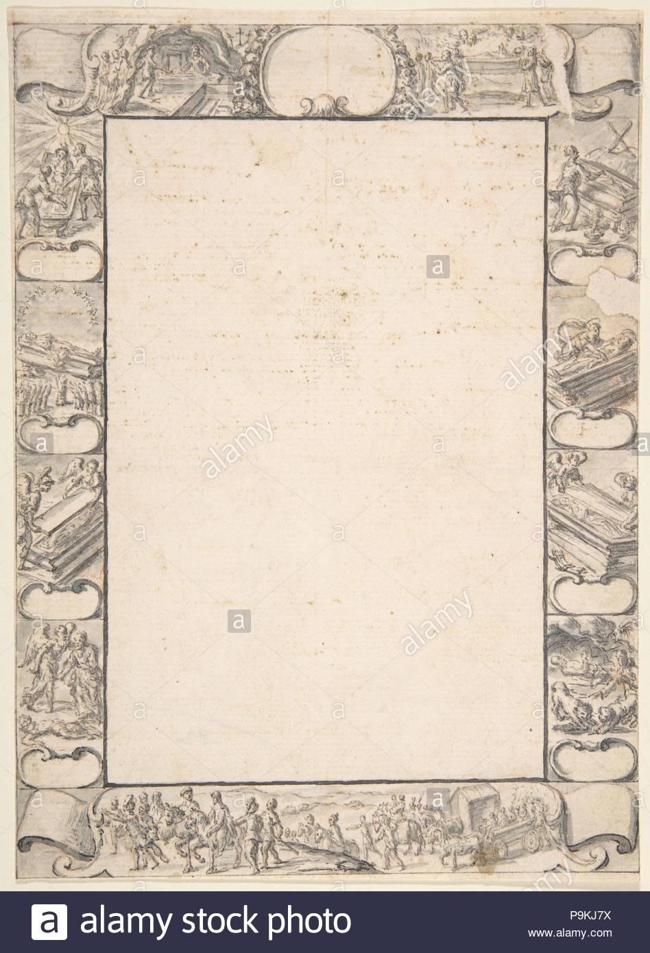 Design für die Grenze mit religiösen Szenen, 17. Jahrhundert, Pen und Braun, Pinsel und Grau waschen, Blatt: 7 13/16 x 5 11/16 in. (19,8 x 14,4 cm), Zeichnungen, Anonyme, Italienisch, 17. Stockbild