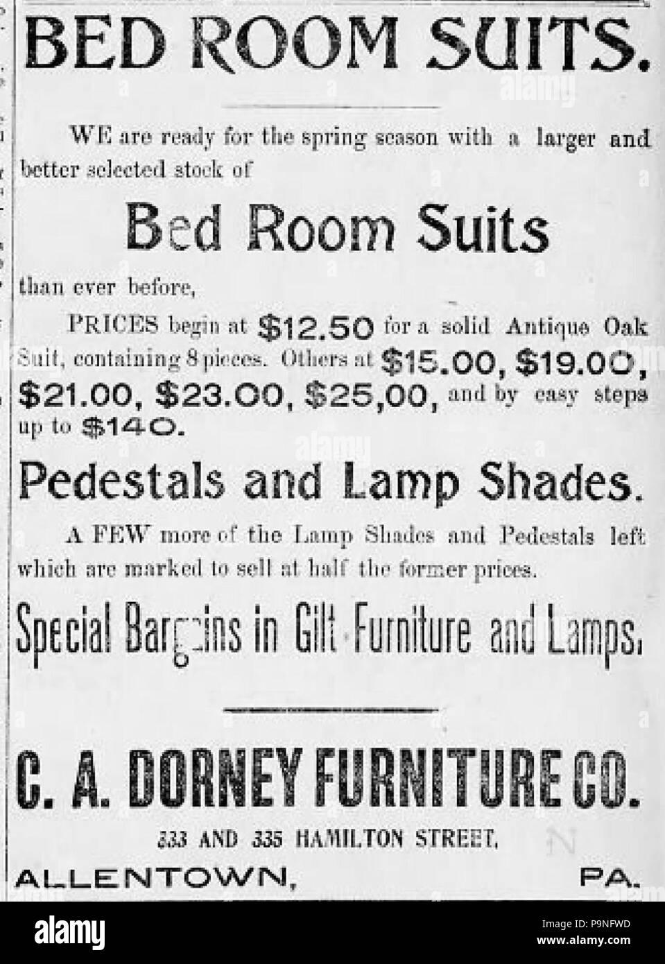 24 1898 C A Dorney Möbel Zeitung Anzeige Allentown Pa Stockfoto