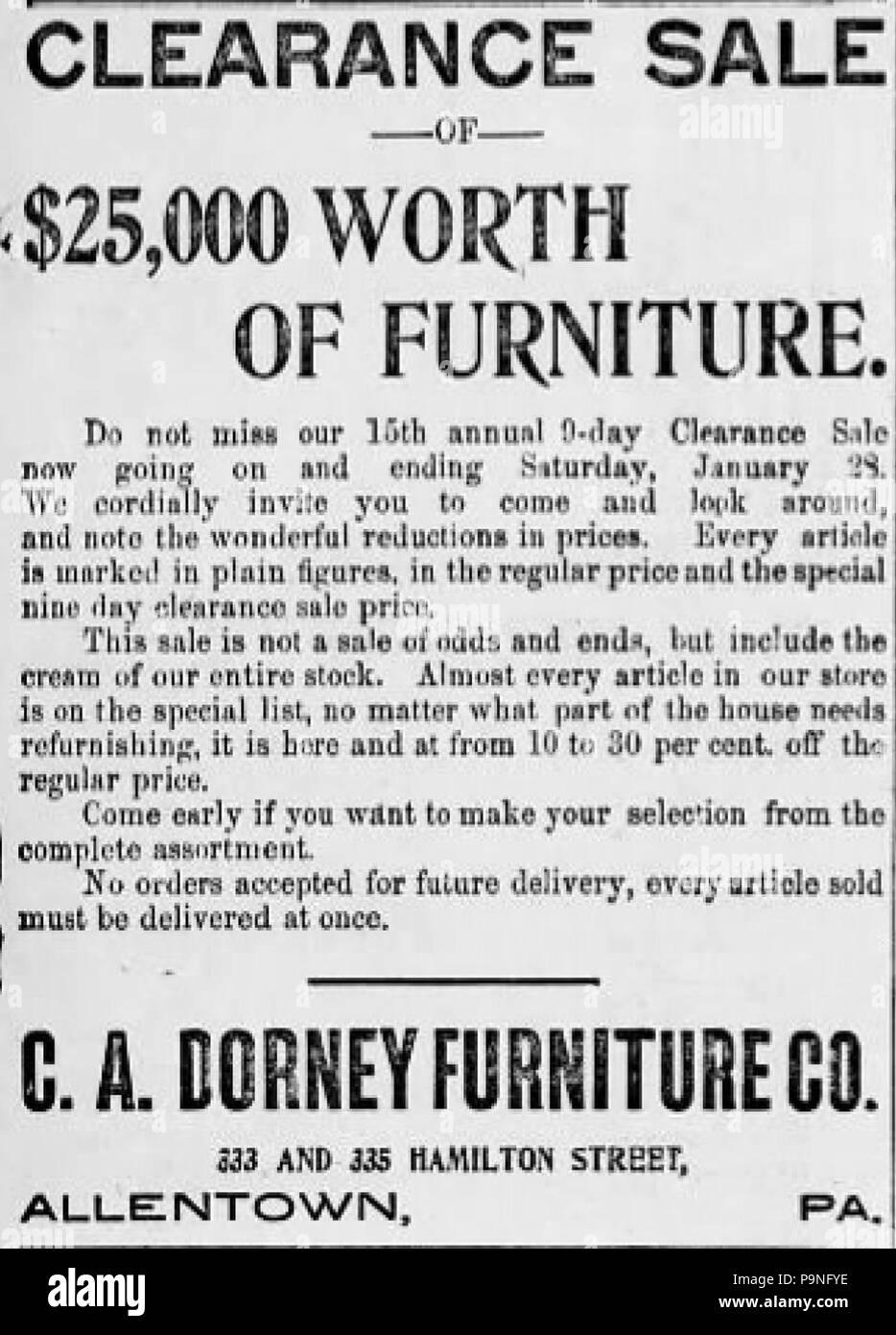 24 1899 C A Dorney Möbel Zeitung Anzeige Allentown Pa Stockfoto