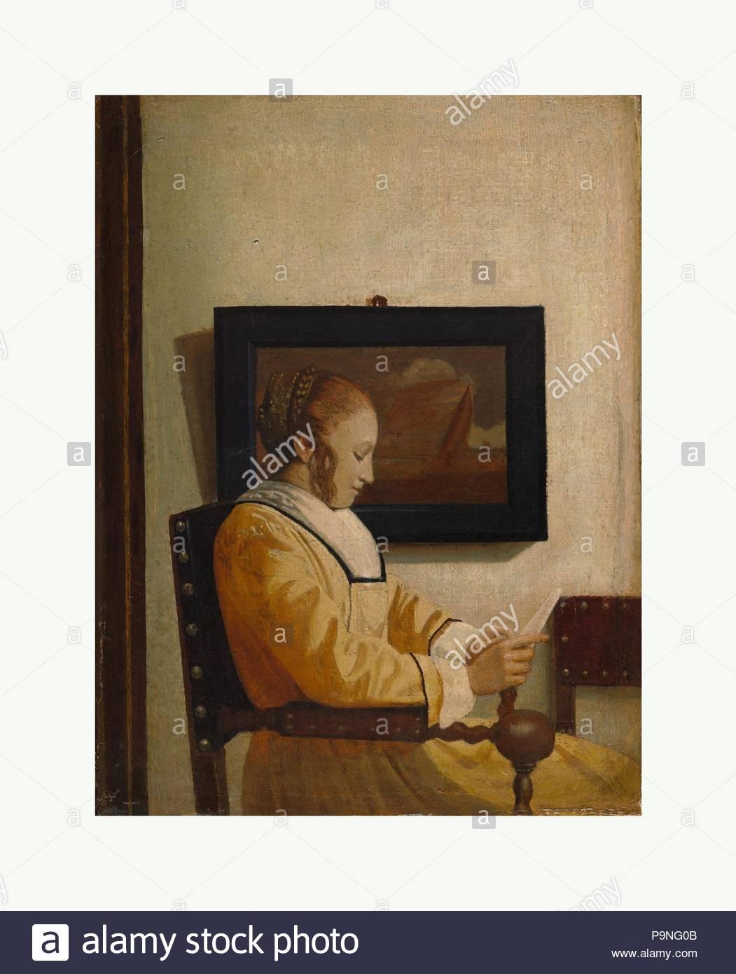Eine junge Frau liest, Öl auf Leinwand, 7 3/4 x 5 3/4 in. (19,7 x 14,6 cm), Gemälde, Imitator von Johannes Vermeer (Ca. 1925 - 27). Stockbild