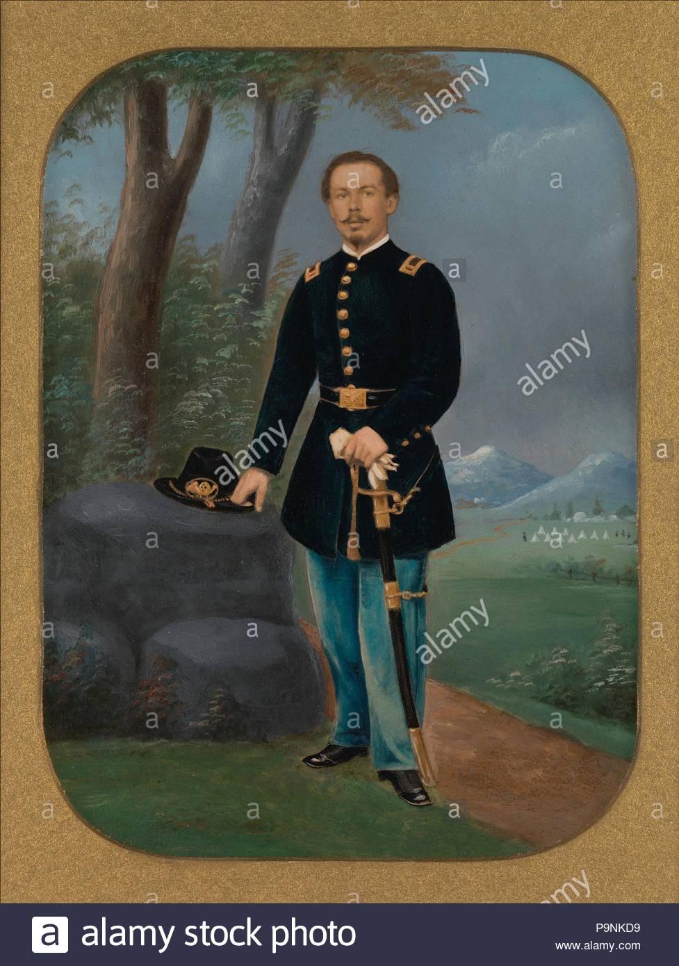 [Union Army Officer], 1861-65, Eiweiß silber Drucken aus Glas negativ mit der angewandten Farbe, Bild: 19,4 x 14,3 cm (7 5/8 x 5 5/8 in.), Fotografien, Unbekannt (Amerikanischen). Stockbild