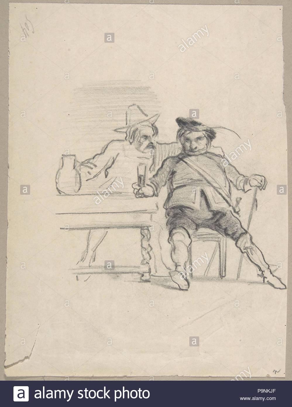 Zwei männliche Figuren an einem Tisch, Trinken, Graphit sitzt, 7-3/4 x 5-7/8 in. (19,7 x 14,9 cm), Zeichnungen, Félicien Rops (Belgien, Namur 1833 - 1898 Essonnes). Stockbild