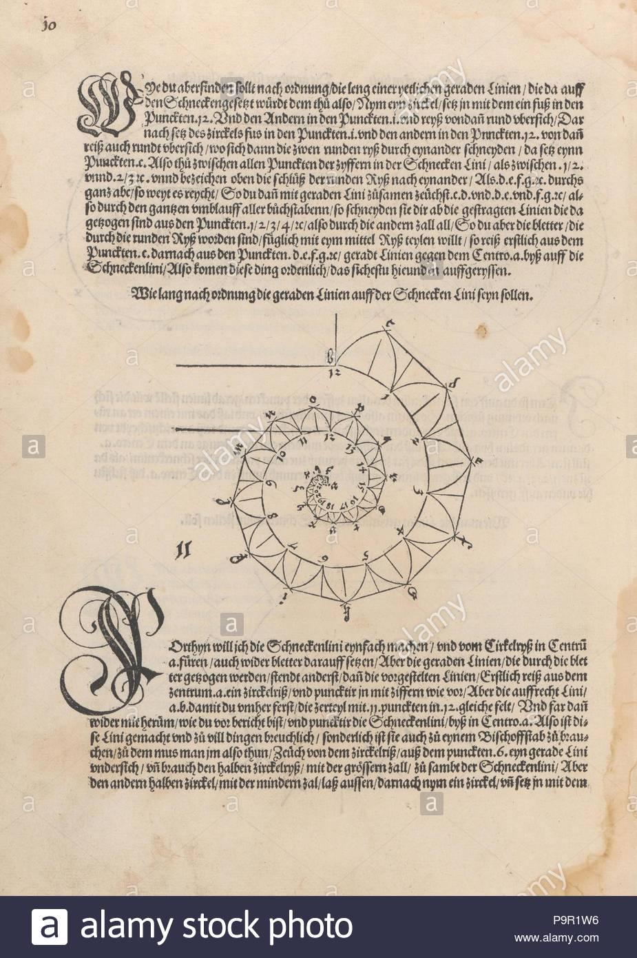 """Underweysung der Messung mit dem zirckel un-richt scheyt, 1525, Holzschnitt, Insgesamt: 11 x 8 5/16 x 15/16 in. (28 x 21.1 x 2.4 cm), Bücher, Albrecht Dürer (Deutsch, Nürnberg 1471 - 1528 Nürnberg), gegen Ende der Dürers Leben veröffentlicht, Traktat über die Messung (1525) beabsichtigt war, wie der Künstler in seiner Einführung erklärt, """"nicht nur für Maler, sondern auch für Goldschmiede, Bildhauer, Steinmetze, Tischler, und alle, denen über Messung ist nützlich. Stockbild"""