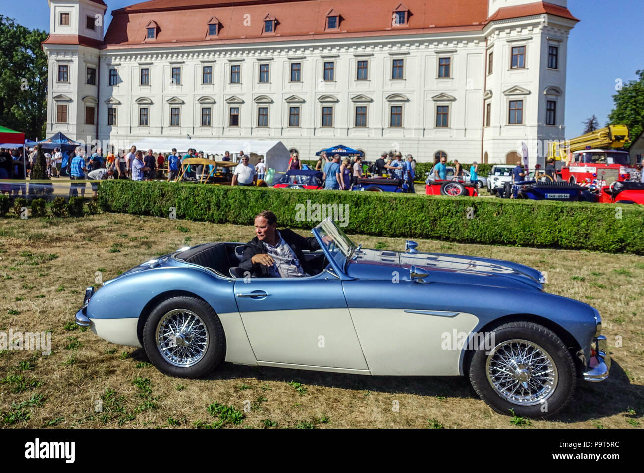Austin Healey 3000 Mk III Sport Auto, Holesov Schlossgarten, Tschechische Republik Stockbild