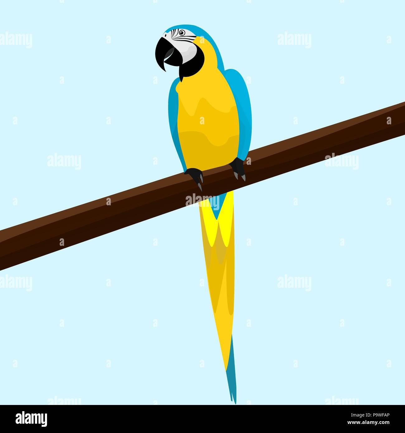 Ein netter Papagei sitzt auf einem Ast eines Baumes Vector Illustration Stockbild