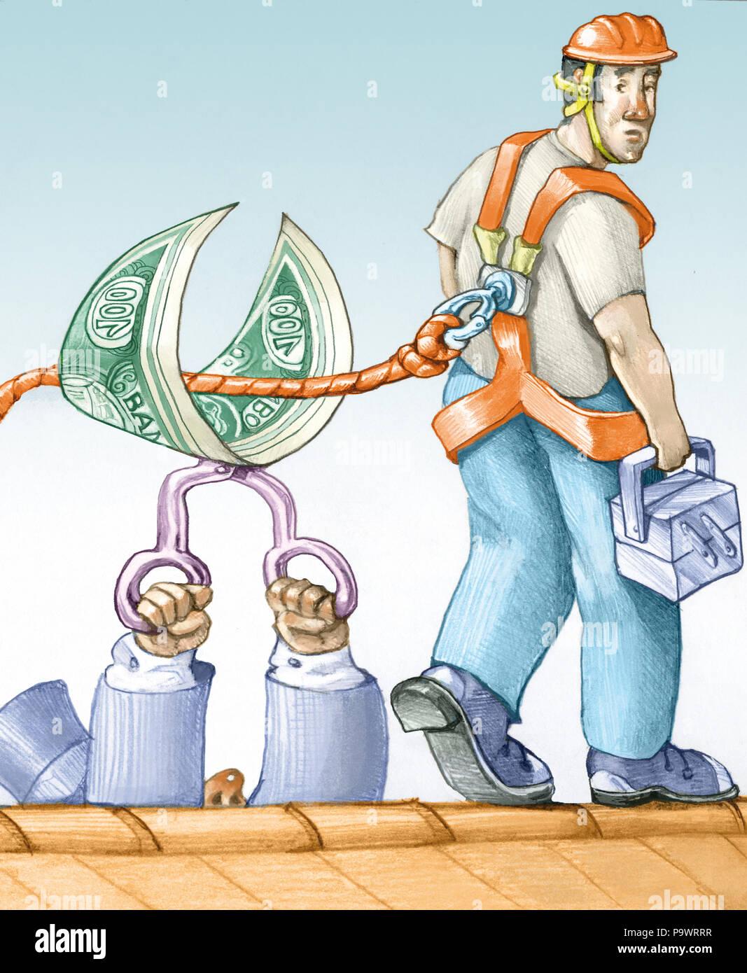 Ein Arbeitnehmer ist auf dem Dach die Boss schneidet den Kabelbaum mithilfe einer Banknote Stockbild