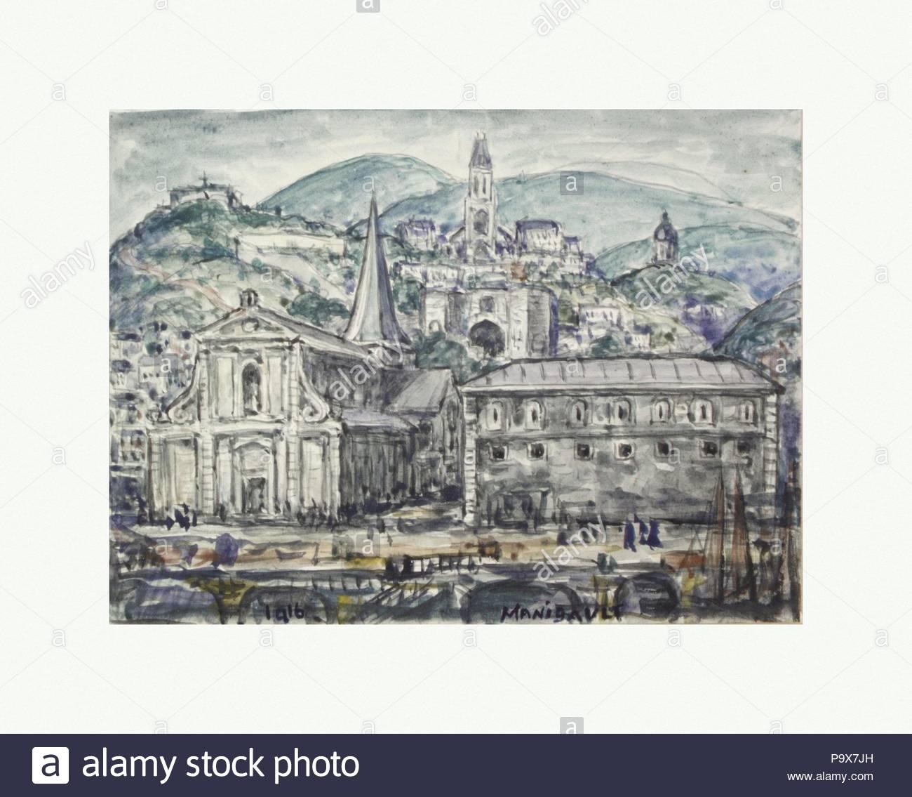 Eine Stadt in Frankreich, 1916, Aquarell auf Papier, 5 1/2 x 7 3/4 in. (14 x 19,7 cm), Zeichnungen, E. Middleton Manigault (Amerikanische (Kanada) Geboren 1887 - 1922). Stockbild