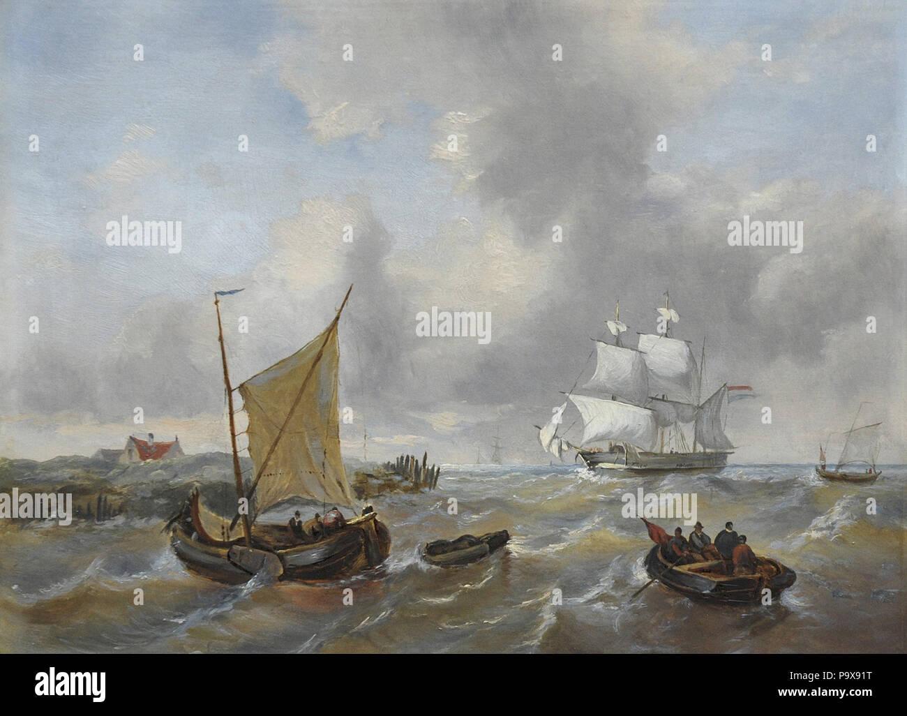 Opdenhoff George Willem-Schepen voor de Kust in Stevige Bries Stockbild