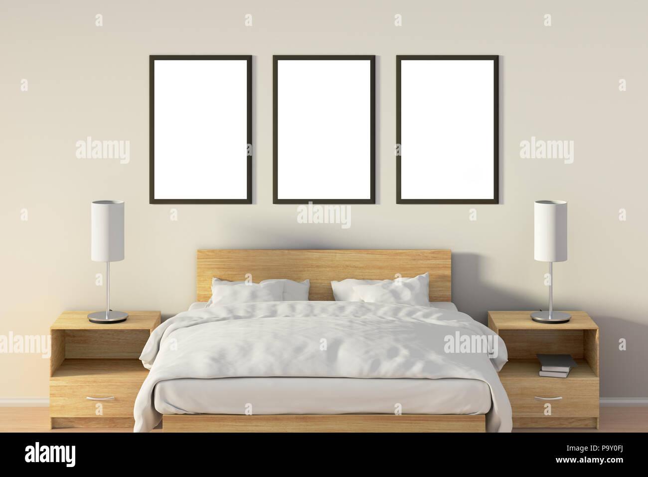 Drei Leere vertikale Poster im Schlafzimmer über Holzbett. Mit ...