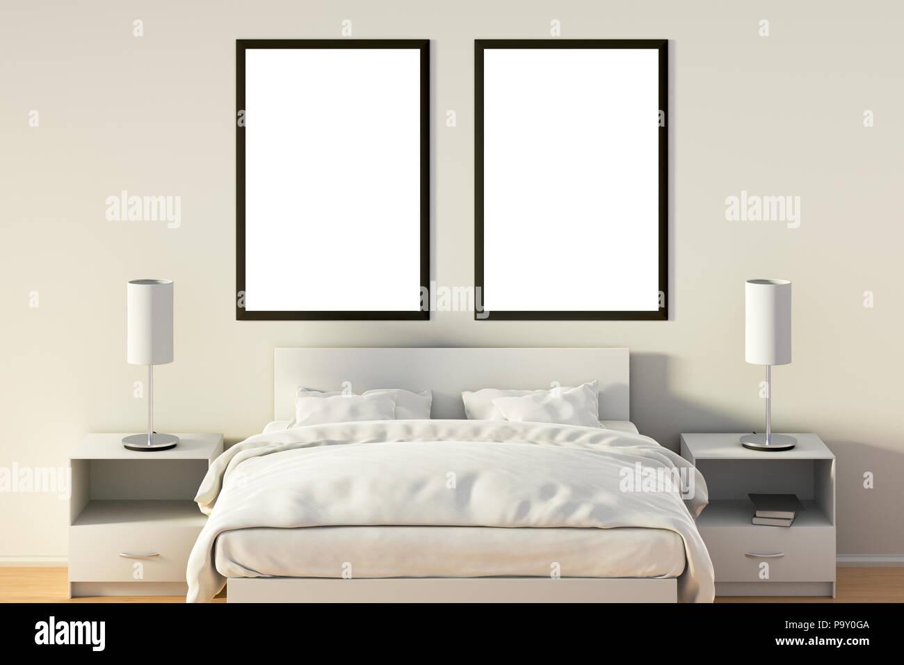 Zwei leere vertikale Poster im Schlafzimmer über weißen Bett. Mit ...
