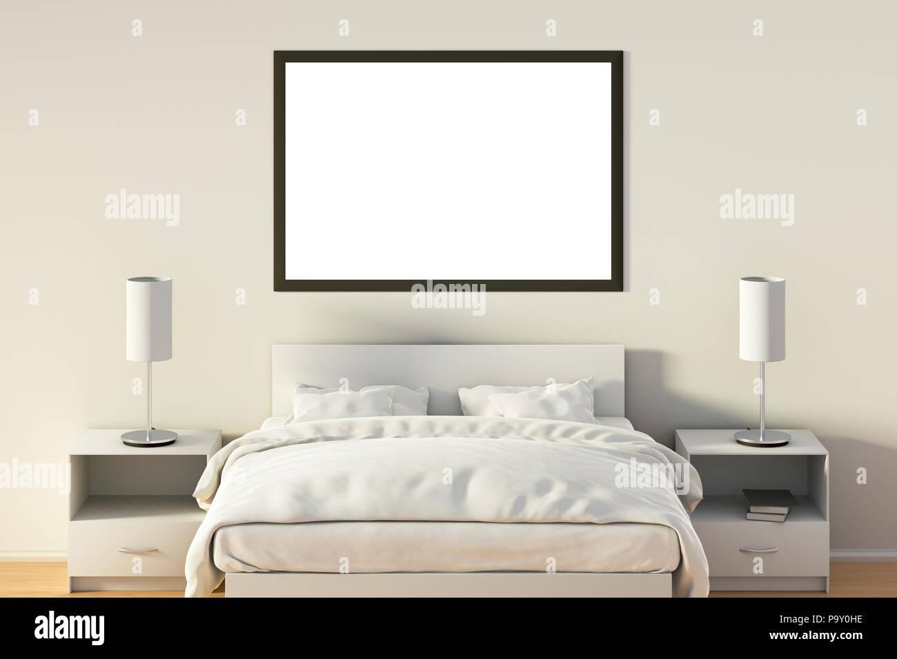 Leere horizontale Poster im Schlafzimmer über weißen Bett. Mit ...