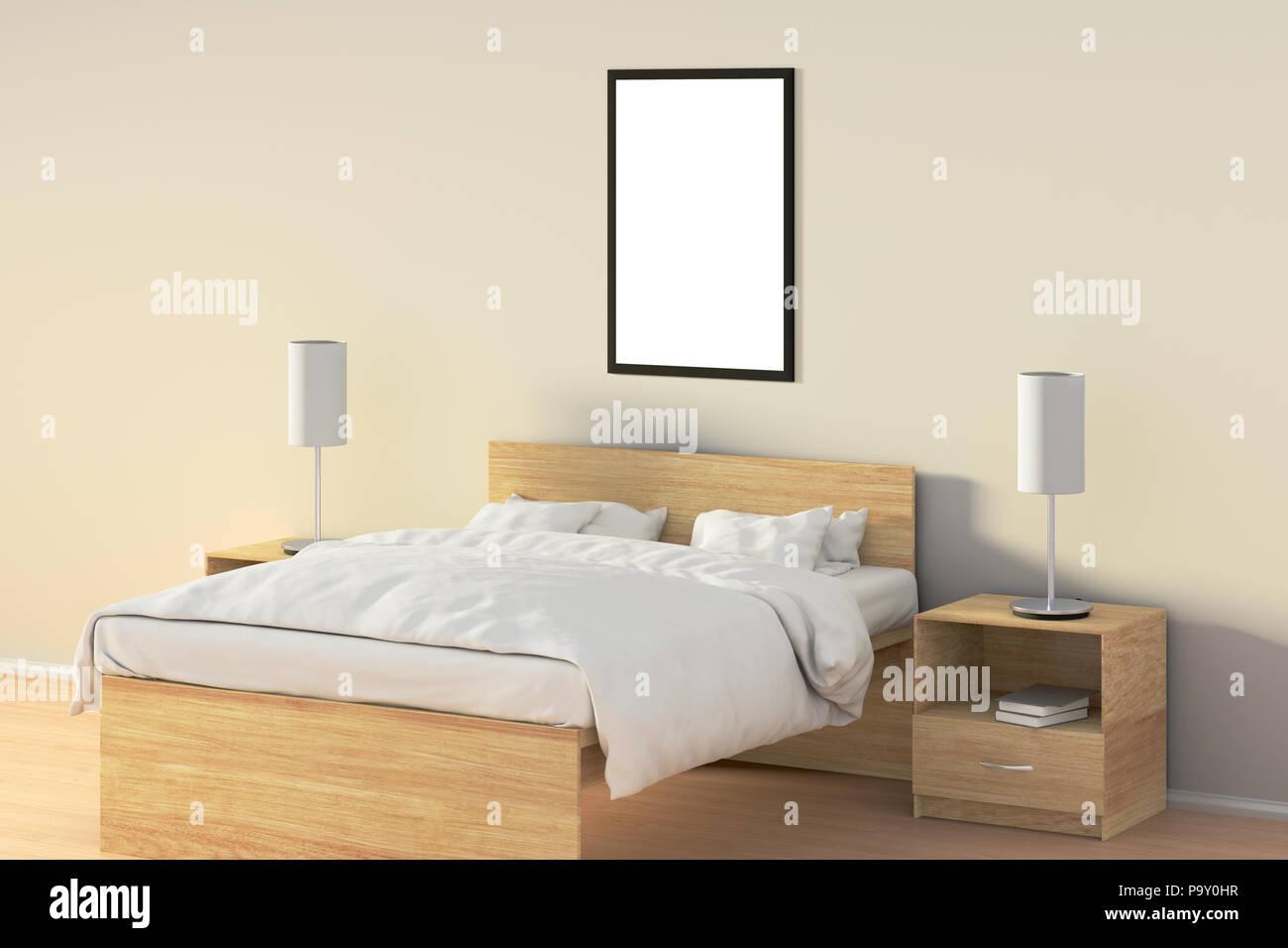 Leere vertikale Poster im Schlafzimmer über Holzbett. Mit ...