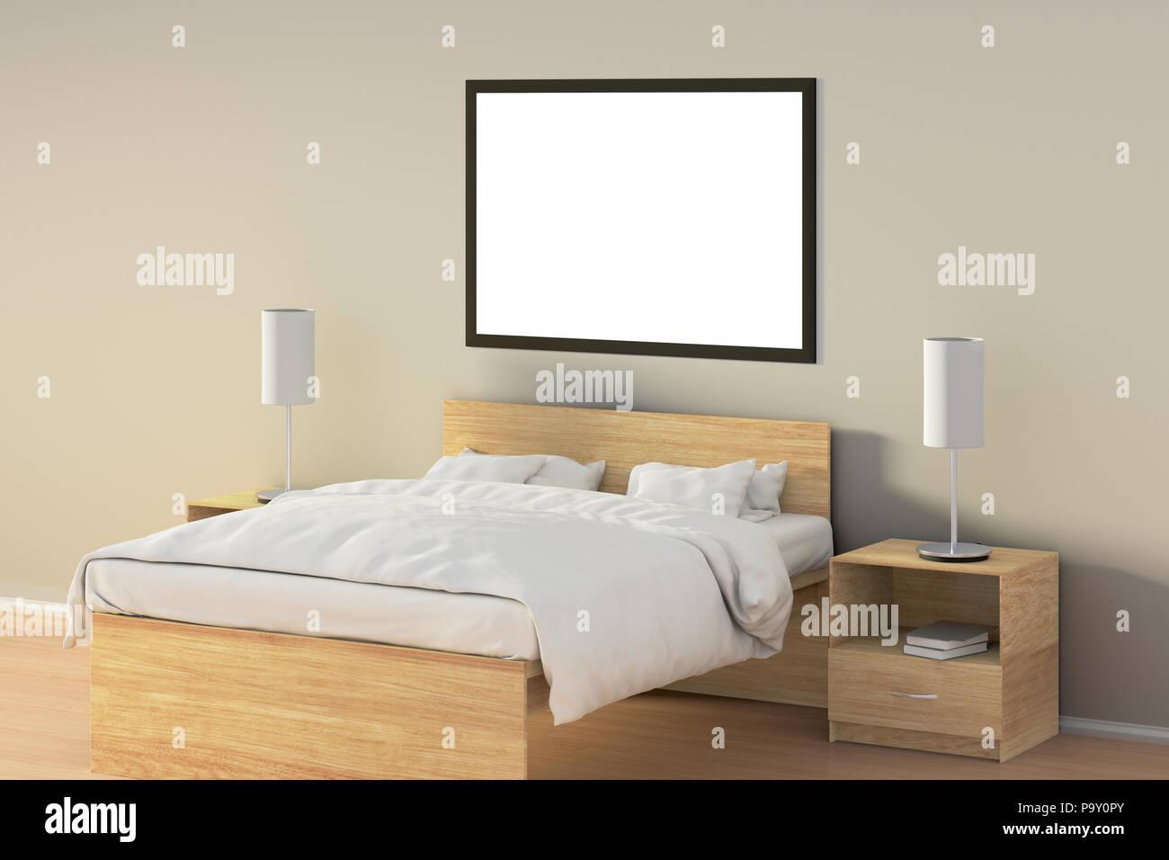 Leere horizontale Poster im Schlafzimmer über Holzbett. Mit ...