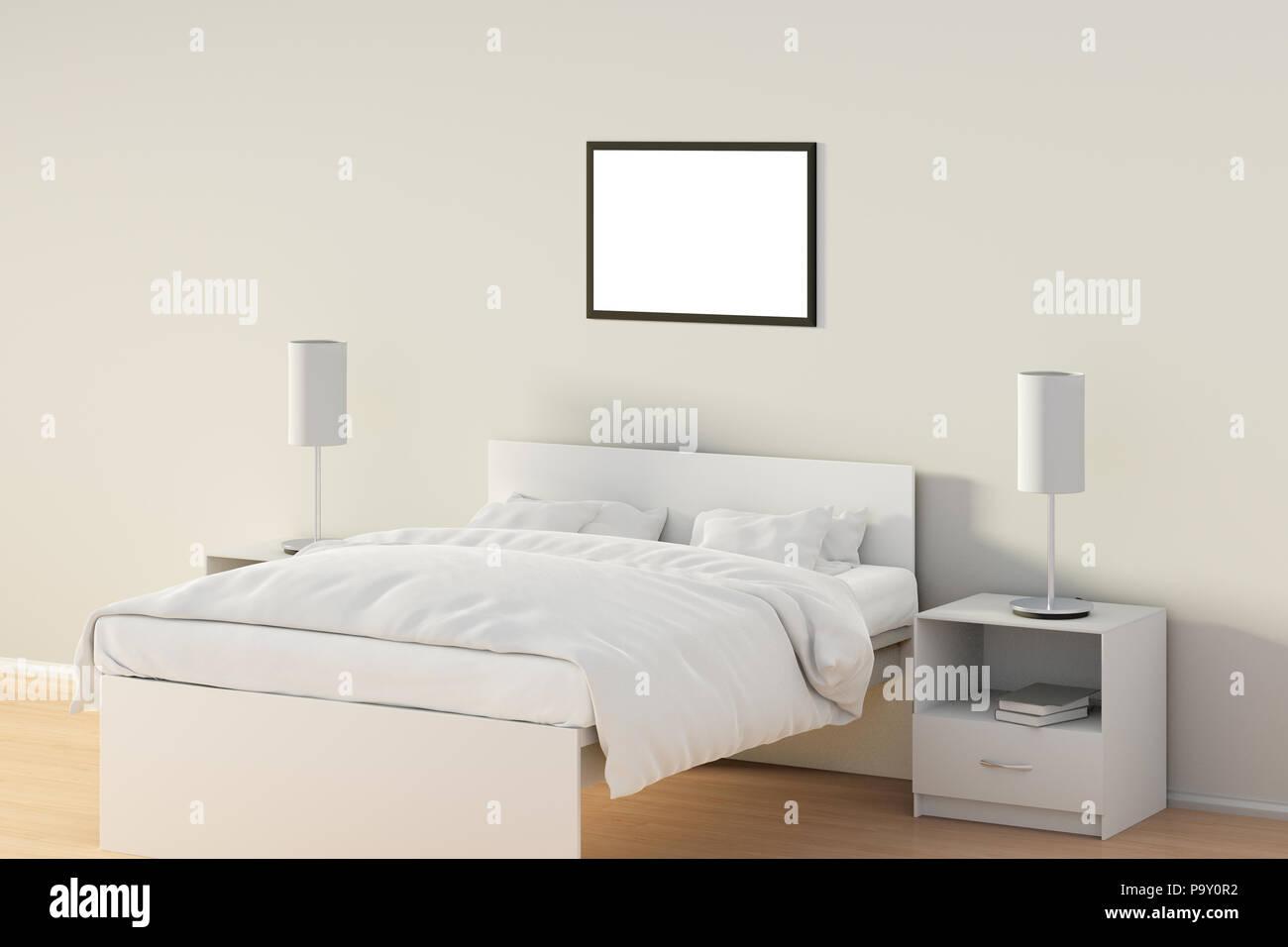 Leere horizontale Poster im Schlafzimmer über weißen Bett ...