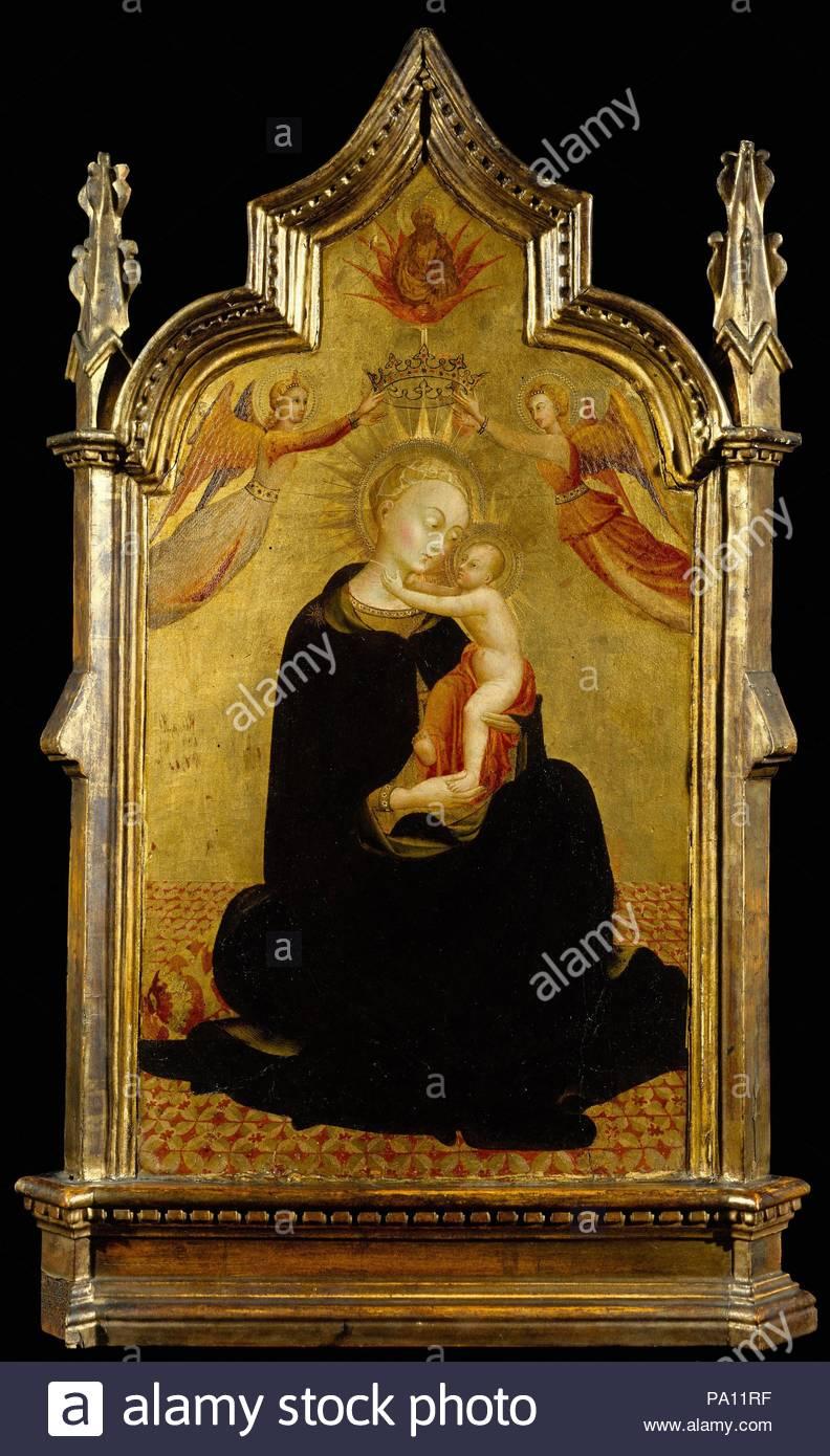 Madonna mit Kind und Engeln, Ca. 1445 - 50, Tempera auf Holz, Gold ...