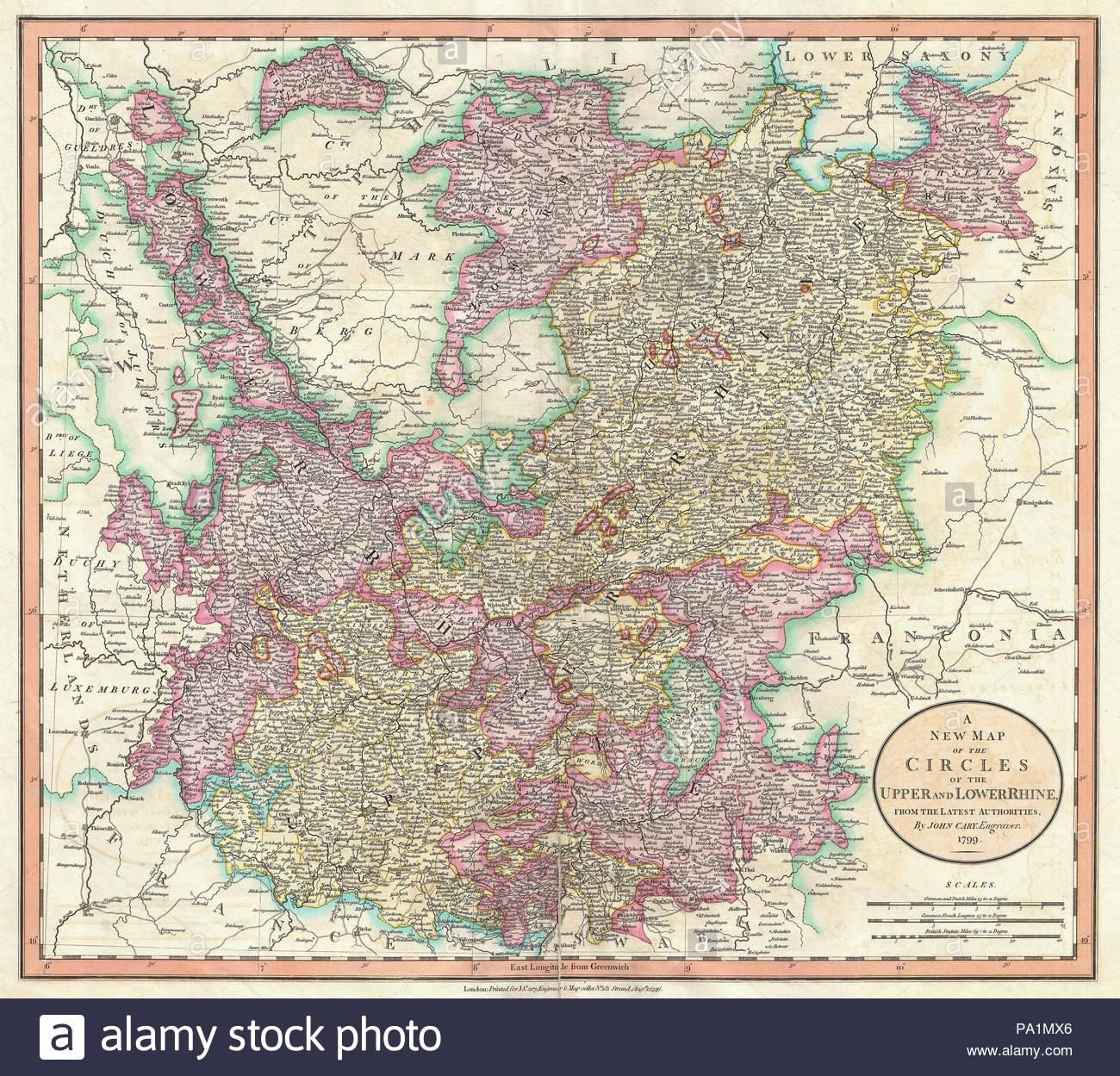 Karte Niederrhein.1799 Cary Karte Von Ober Und Niederrhein John Cary 1754 1835