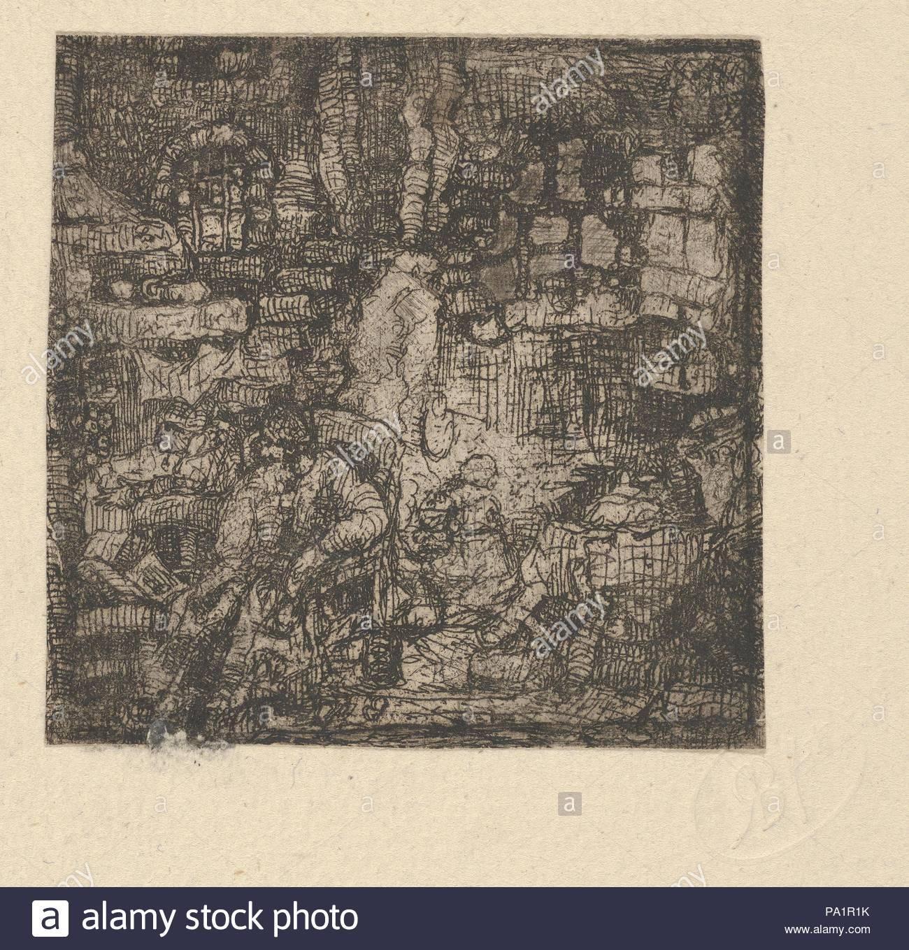 Vieillard Assis Dans un Intérieur (alter Mann sitzt in einem Innenraum), Ca. 1841, Radierung, Mount: 7 3/8 x 5 1/2 in. (18,7 x 14 cm), Drucke, Rodolphe Bresdin (Französisch, Montrelais 1822 - 1885 Sèvres). Stockbild