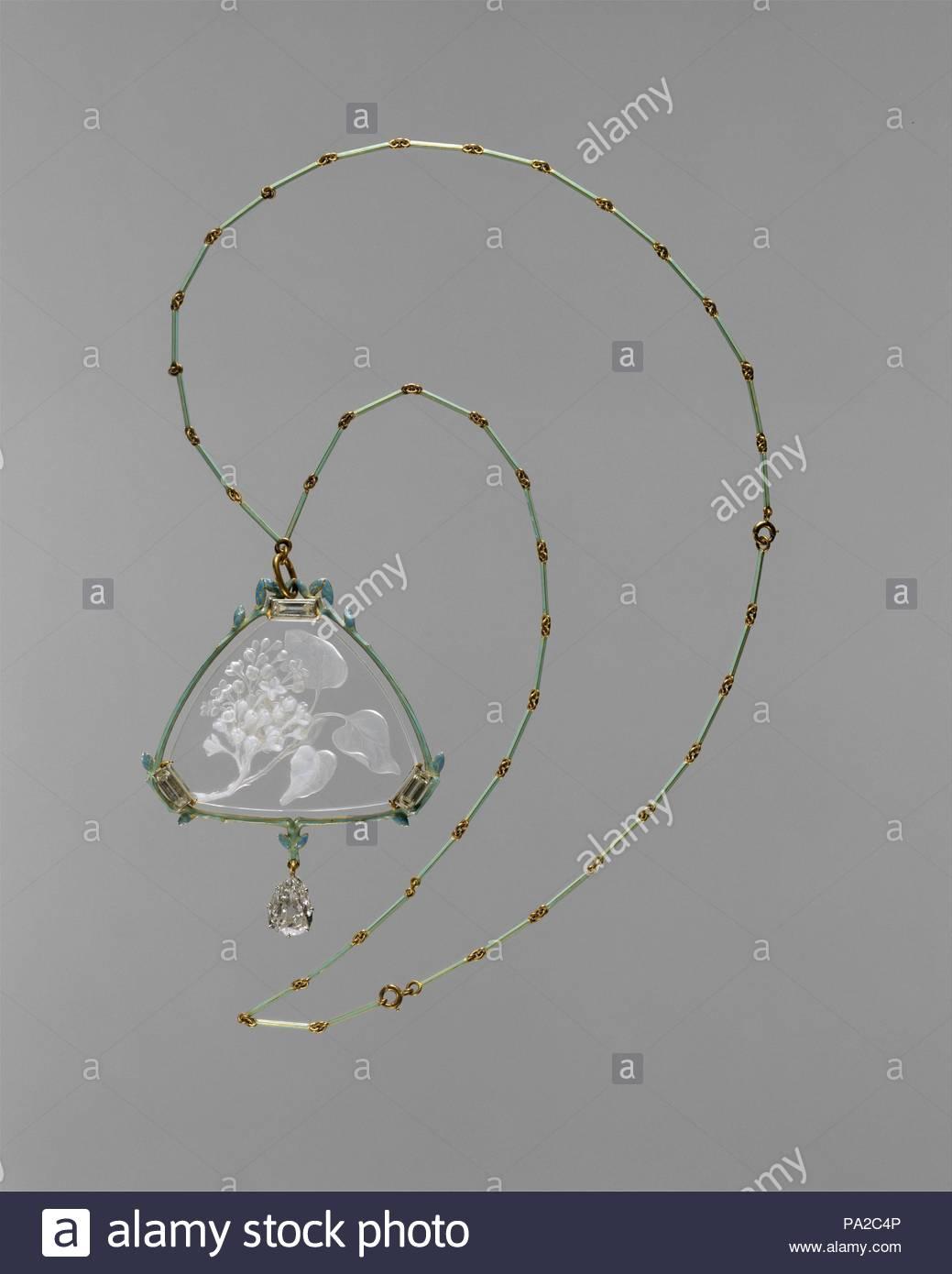 Anhanger Und Kette Ca 1905 Gold Emaille Glas Diamanten L 14