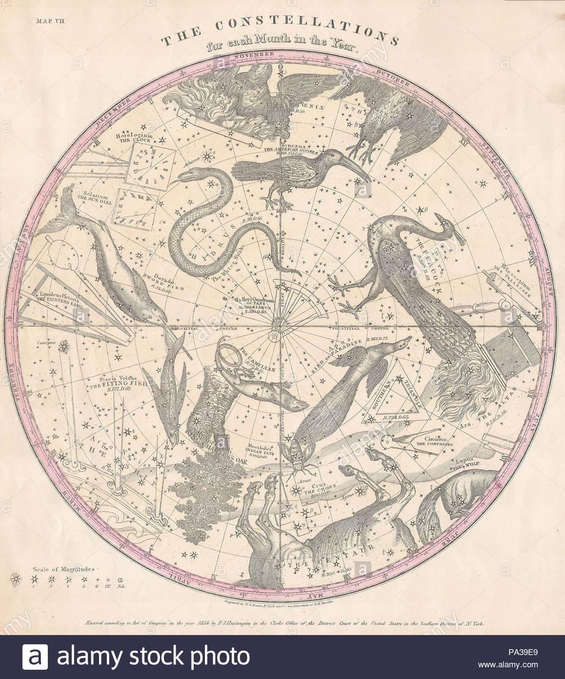 sternbilder karte 1856, Burritt, Huntington Karte der Sterne und Sternbilder der
