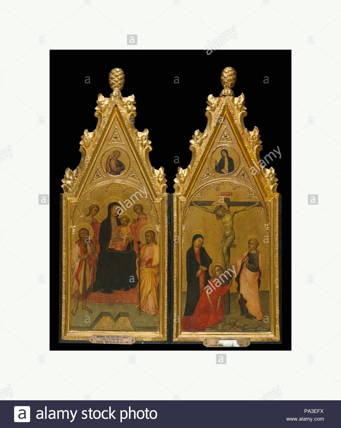 Diptychon mit Wohnung Frames, Ca. 1400-1410, Siena, Pappel ...