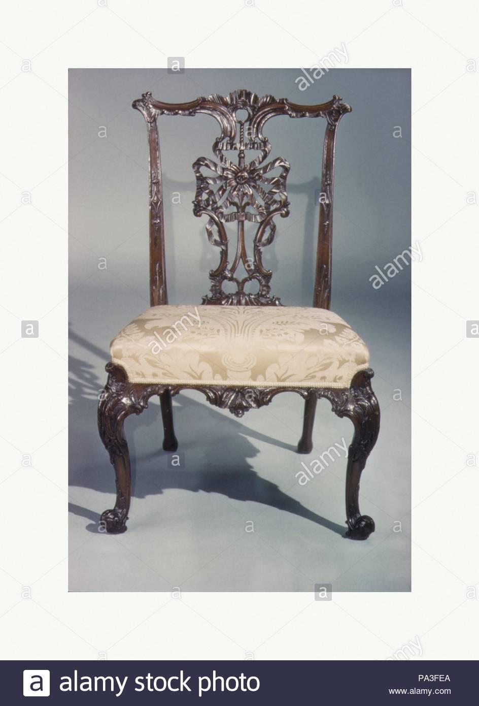 Side Chair, Mitte Des 18. Jahrhunderts, Britischen, Mahagoni, Moderne  Damast, H. 37 7/8 X W. 25 1/4 X D 24 3/4 In. (96,2 X 64,1 X 62,9 Cm), ...
