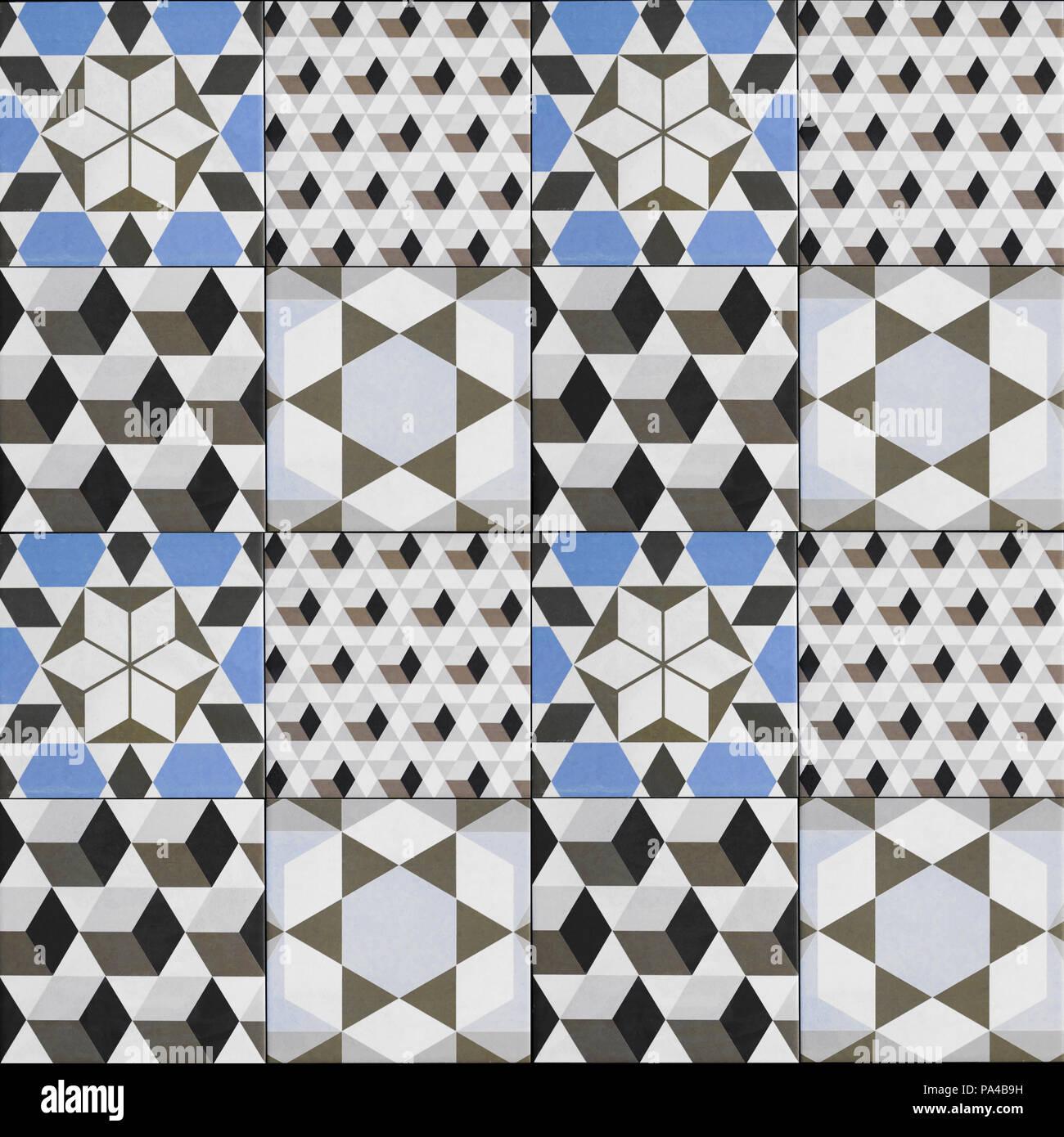 Fliese Muster - Geometrische patchwork Design, dekorative ...
