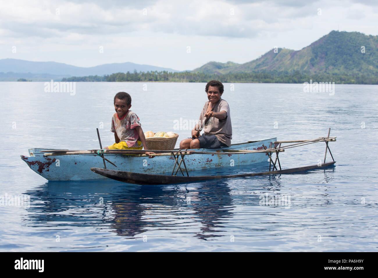 Kleines Boot, Papua-Neuguinea Stockbild