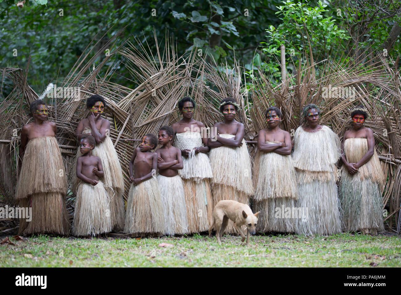 Einheimische in traditionellen Trachten, Tanna, Vanuatu Stockbild