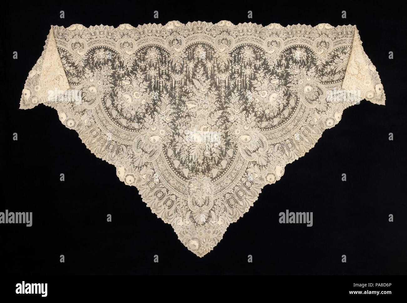 ae5f5448fd5de Schal. Kultur  Belgische. Datum  1860-70. Punkt de Blick spitze in Belgien  produziert wurde besonders in ...