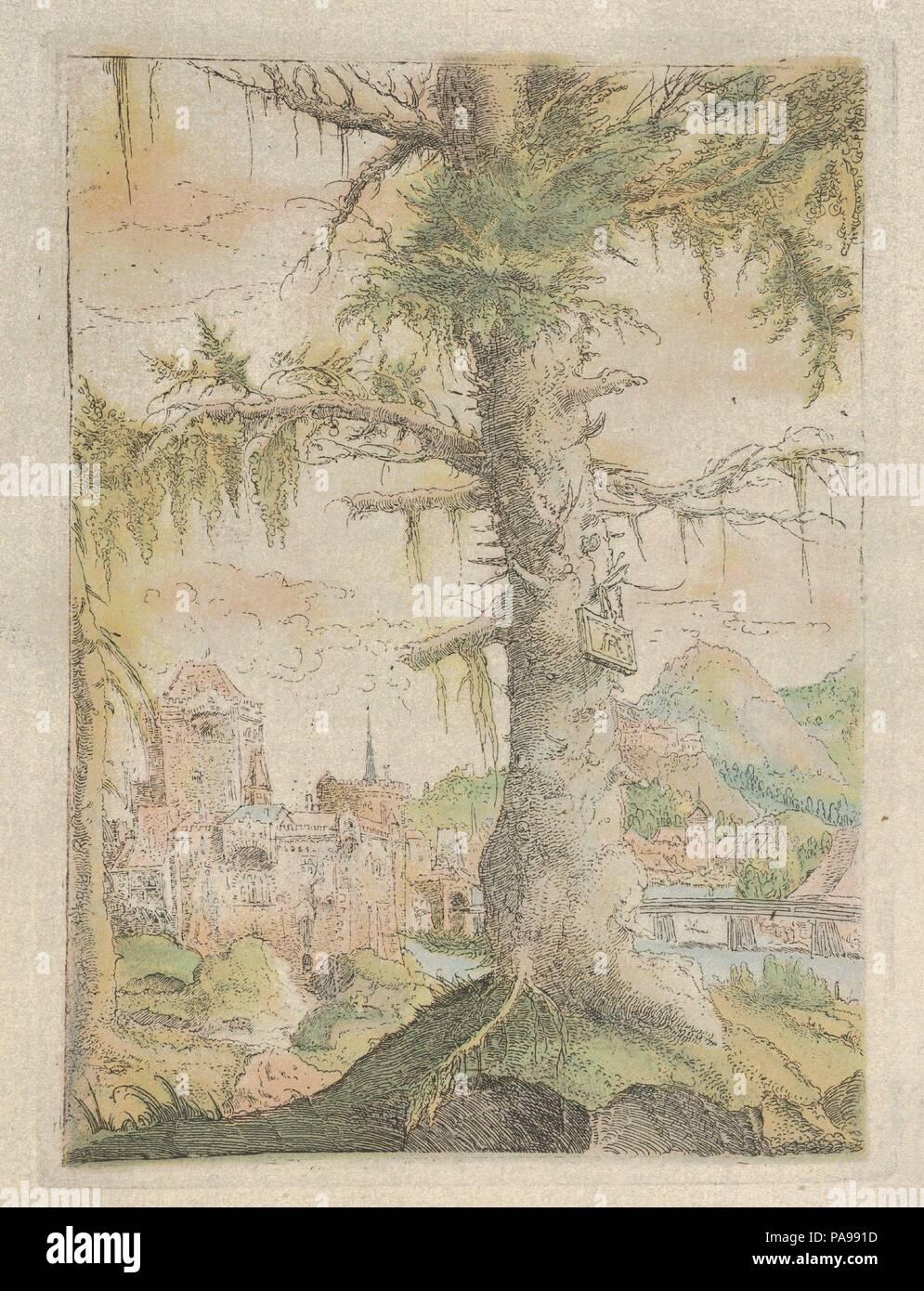 Faksimile Reproduktion der Kleine Fichten. Künstler: Albrecht Altdorfer (Deutsch, Regensburg Ca. 1480-1538 Regensburg). Autor: Autor der Meisterwerke der Graphik im XVIII Jahrhundert, Alfred Stix. Maße: Blatt: 7 13/16 x 6 3/16 in. (19,9 x 15,7 cm) Platte: 6 5/8 x 4 13/16 in. (16,9 × 12,2 cm). Herausgeber: Artur Wolf (Wien). Museum: Metropolitan Museum of Art, New York, USA. Stockbild