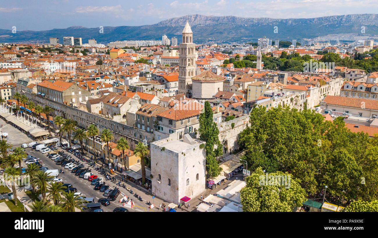 Luftbild der Altstadt von Split, dem historischen Zentrum der Stadt Split, Kroatien Stockbild
