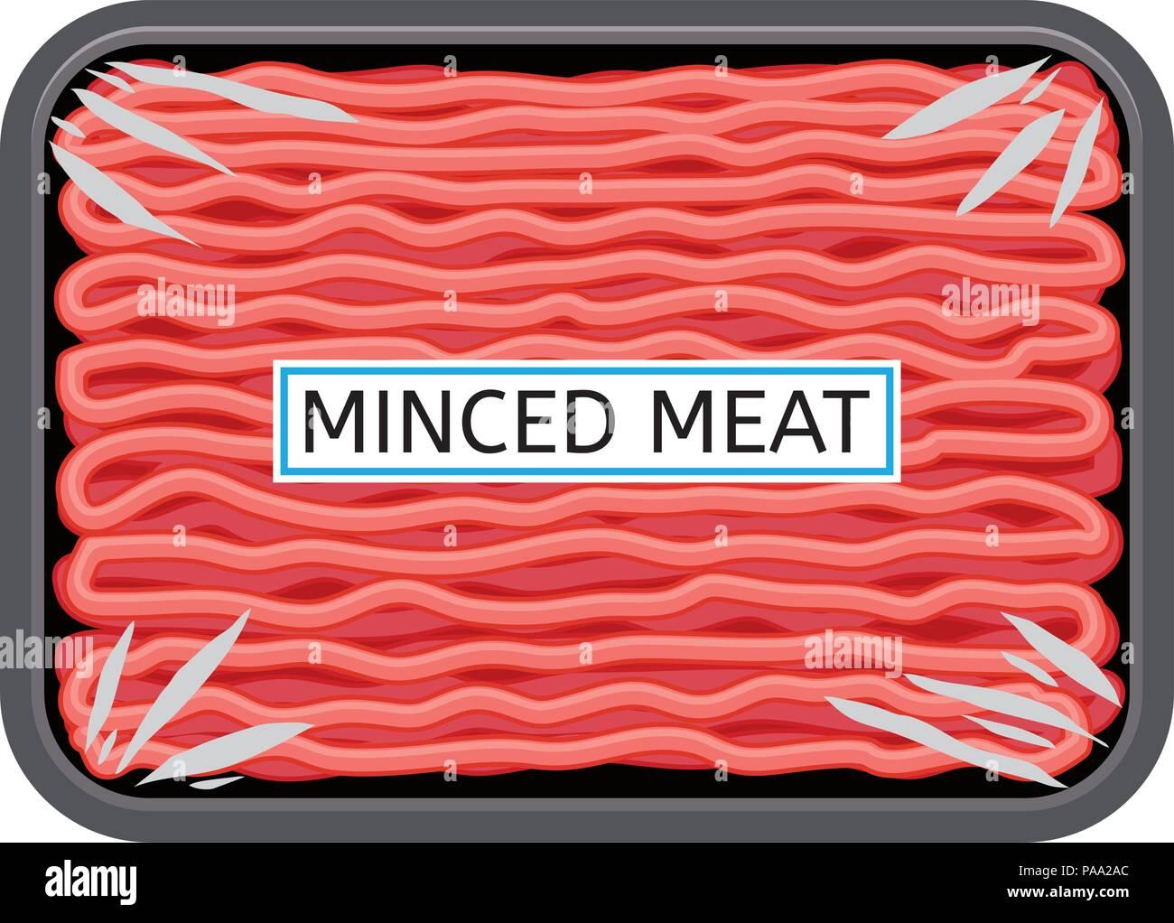 vektor hackfleisch in kunststoff fach isoliert auf weißem