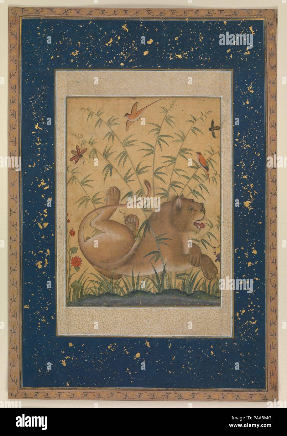 Lion in Ruhe. Abmessungen: Malerei: 8 x 6 in. (20,3 x 15,2 cm) Folio ...