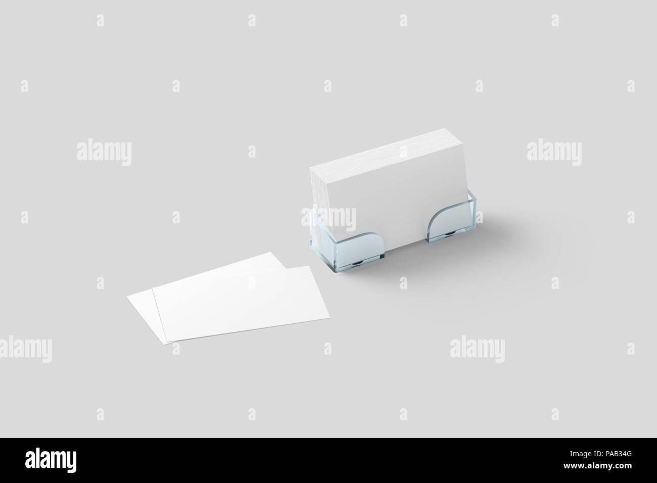 Weiße Visitenkarte Mockup In Acryl Halter Isoliert
