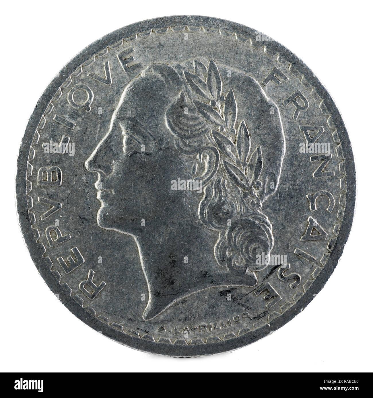 Alte Französische Münze 5 Franken 1949 Vorderseite Stockfoto