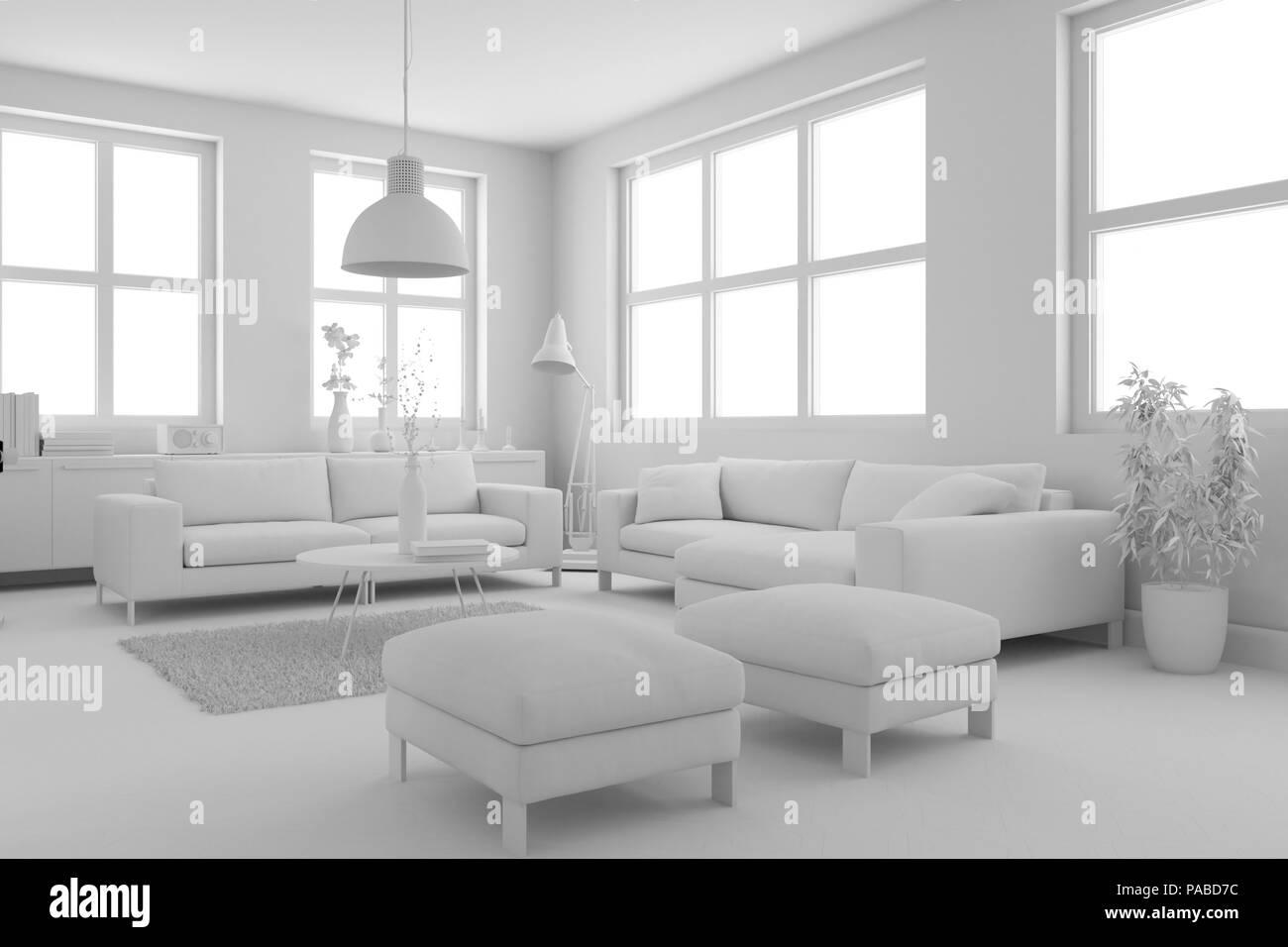 Modell Der Modernen Innenausbau Wohnzimmer
