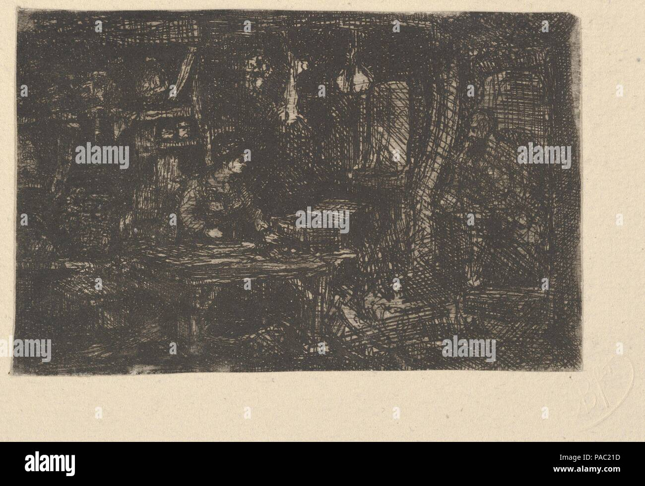 Intérieur (Inneres). Artist: Rodolphe Bresdin (Französisch, Montrelais 1822-1885 Sèvres). Abmessungen: Mount: 9 3/4 x 13 3/4 in. (24,8 × 35 cm) Blatt: 2 5/8 x 4 in. (6,6 × 10,2 cm). Datum: 19. Museum: Metropolitan Museum of Art, New York, USA. Stockbild