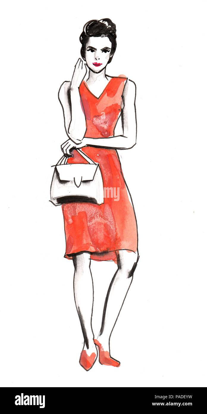 Roten Up Hübsche Frau Make Im Aquarell Kleid TascheTusche Und 8OvnmwN0