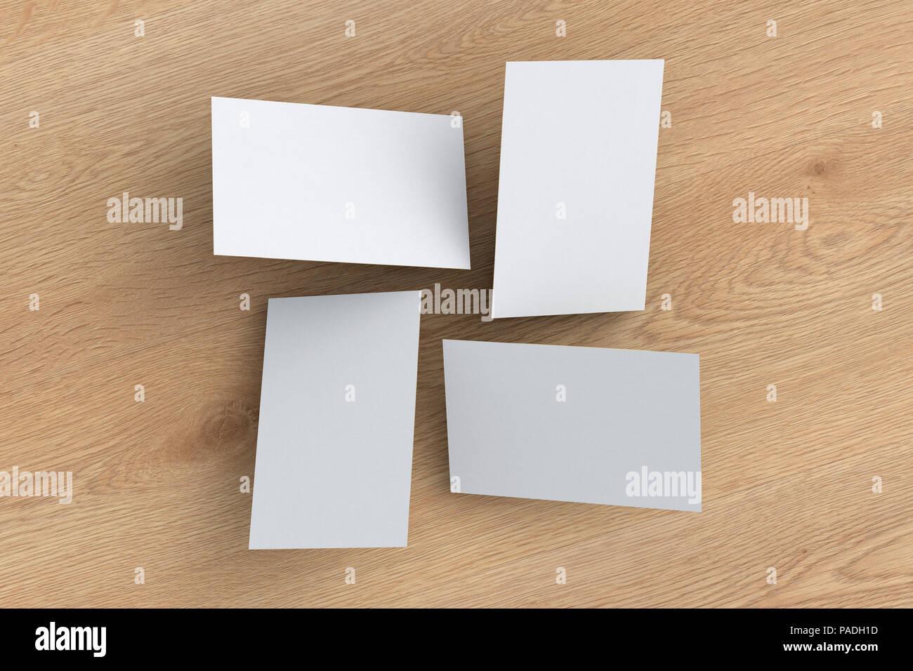 Leere Weiße Visitenkarten über Holz Hintergrund Fliegen 3d
