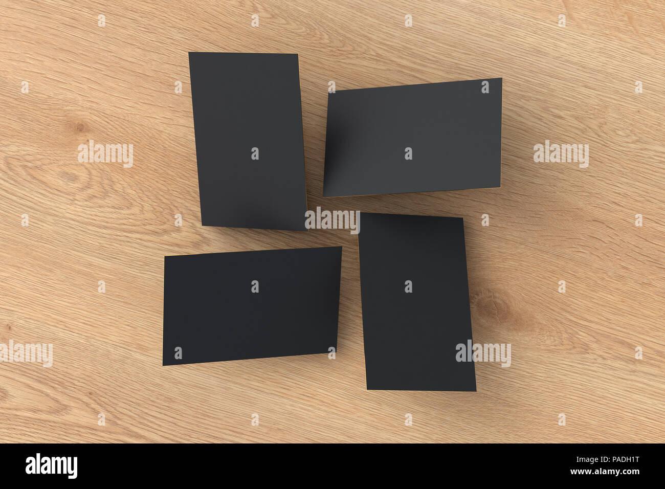 Leeren Schwarzen Visitenkarten über Holz Hintergrund