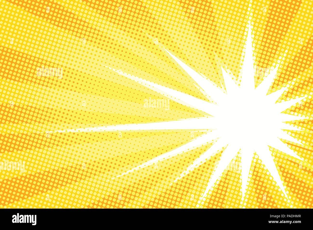 Weiße Sonne Gelb Pop Art Hintergrund Vektor Abbildung Bild