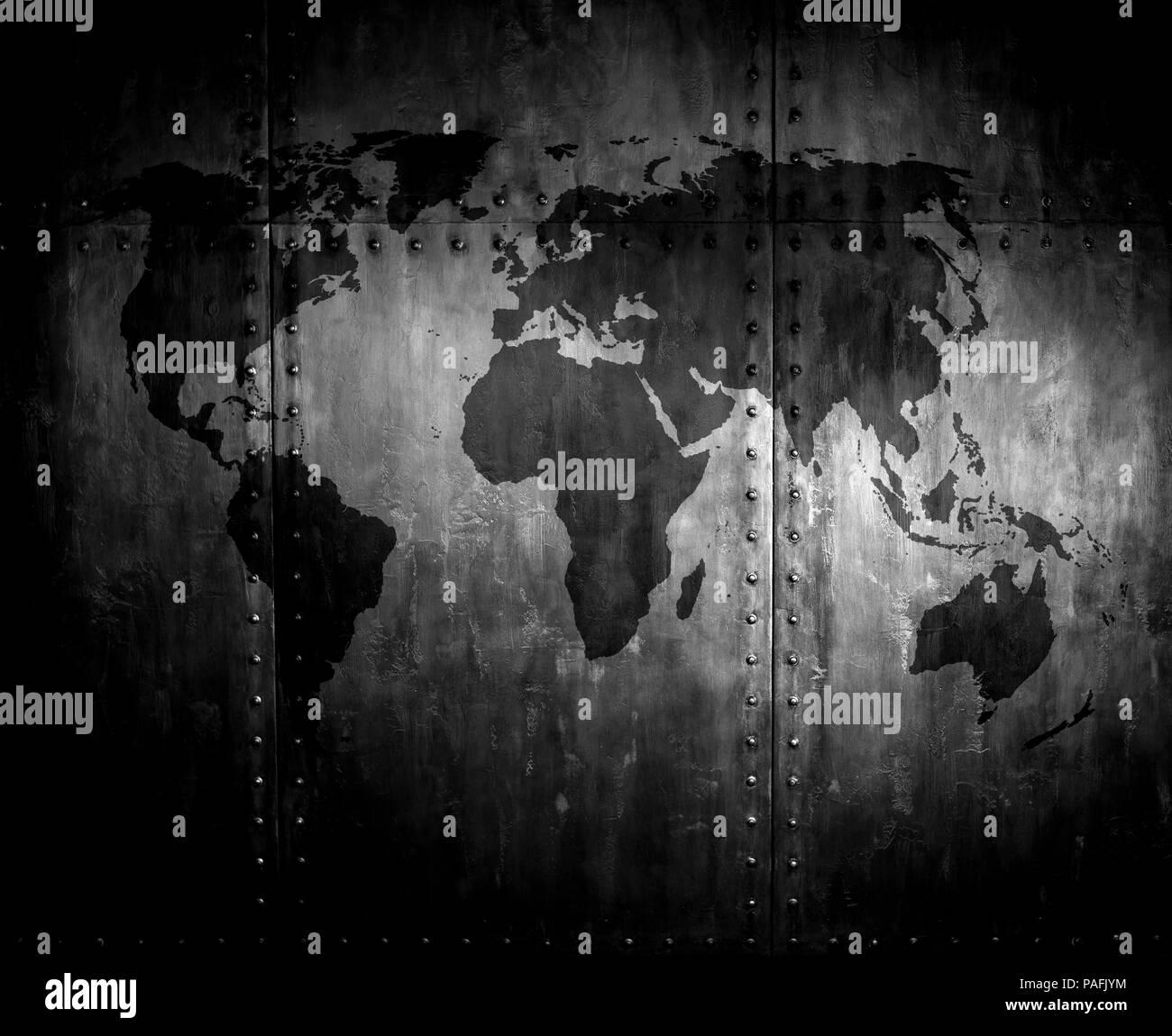fadenscheinig rostigem Stahl mit Nieten, Eisen-Hintergrund mit Weltkarte Stockfoto