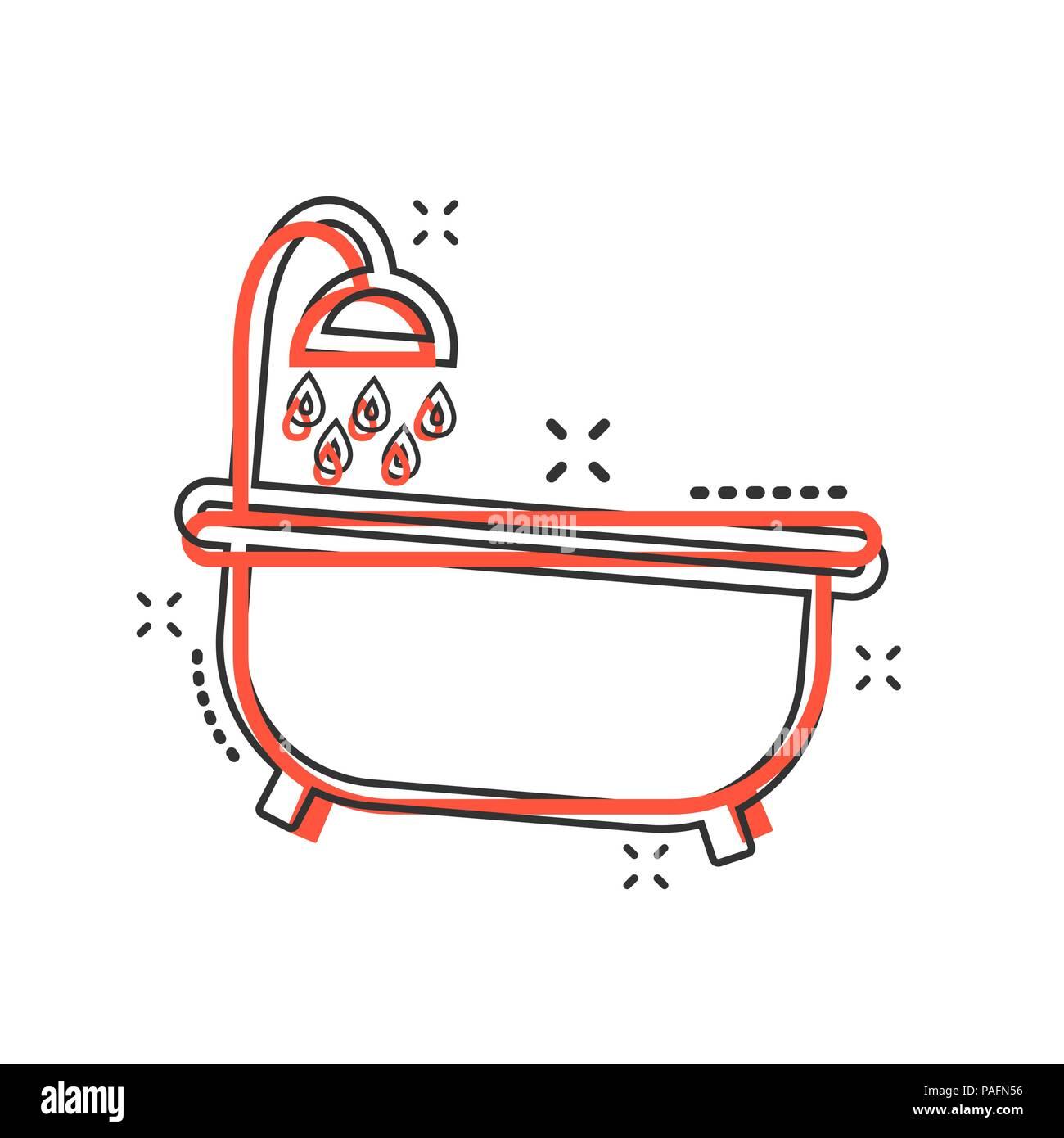 Vektor Cartoon Badewanne Symbol Im Comic Stil Badezimmer Dusche